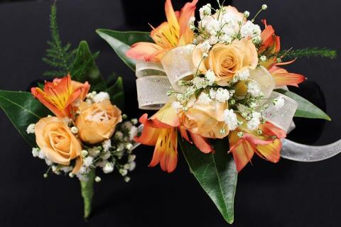 Peachy-Orange wrist corsage