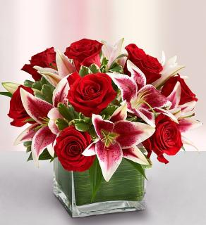 Modern Embrace Red Rose and Lily Cube